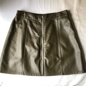 Olive Pleather Skirt from Forever21
